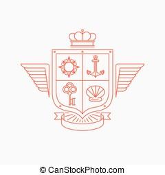 Vector linear heraldry symbols