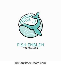 Vector linear logo and emblem - whale - fish abstract design...