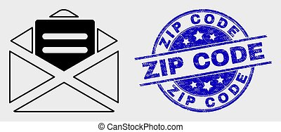 Vector Linear Open Mail Icon and Grunge Zip Code Stamp