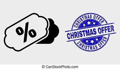 Vector Linear Percent Tags Icon and Grunge Christmas Offer Stamp