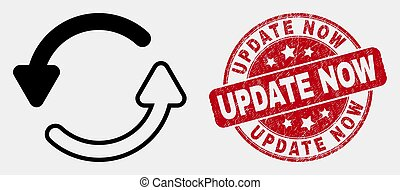 Vector Linear Refresh Arrows Icon and Grunge Update Now Watermark
