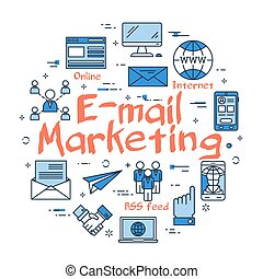 Vector linear round concept of email marketing