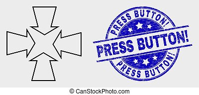 Vector Linear Shrink Arrows Icon and Grunge Press Button! Stamp Seal