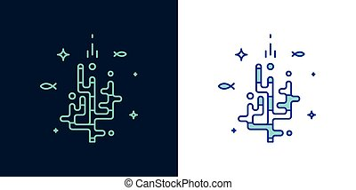Vector linear style icon of a corals