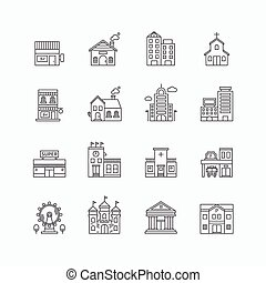vector linear web icons set - buildings collection of flat...