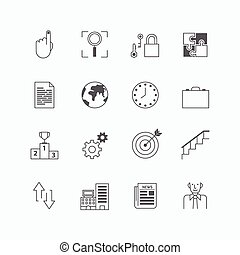 vector linear web icons set - business collection of simple flat mono line business symbol design elements. Stroke vector graphics. concept pictogram pack for logo,web,application