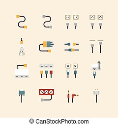 vector linear web icons set - cable wire computer and...