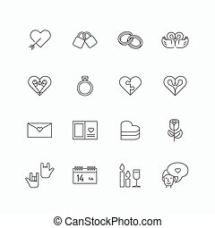 vector linear web icons set - love collection of simple flat mono line love symbol design elements. Stroke vector graphics. concept pictogram pack for logo,web,application