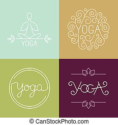Vector linear yoga logo - icons and design elements in...