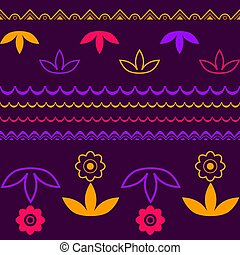 Vector lineart floral seamless pattern background