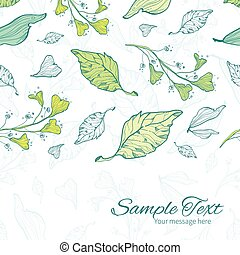Vector lineart spring leaves horizontal border card template