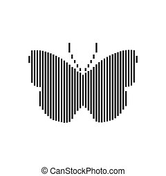 Vector lined silhouette of a butterfly on white background.