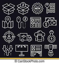 Vector lines icons pack collection