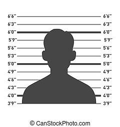 vector, lineup del policía, hombre, silhouette.