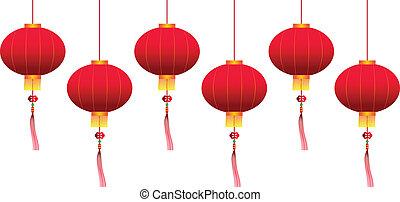 vector, linternas, chino, ahorcadura
