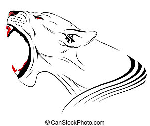 Vector Lion - Vector lioness represented in the form of a...