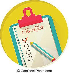 vector, lista, cheque, ilustración