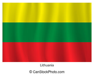 Vector Lithuania flag with title on the white background
