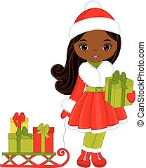 Vector Little African American Girl with Christmas Gifts and Sledges
