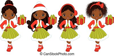 Vector Little African American Girls with Christmas Gifts