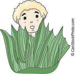 vector little boy hiding behind the grass - vector little...