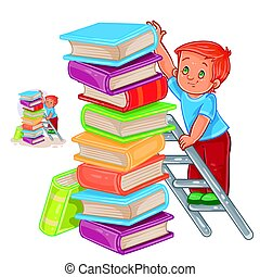 Vector little boy is standing on the ladder and stacking books with a pile.