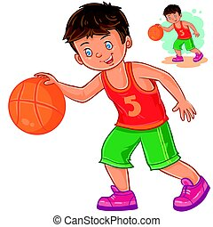 Vector little boy playing basketball.