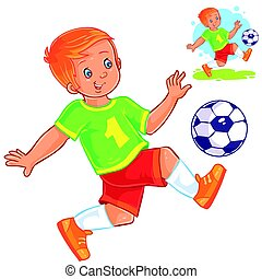 Vector little boy playing soccer.