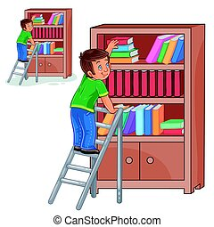 Vector little boy standing on the ladders and stacking books in a bookcase.