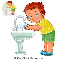 Vector little boy washes his hands with water from a tap