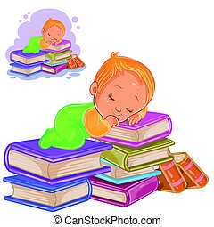 Vector little child in sliders playing with a pile of books and falling asleep on them.