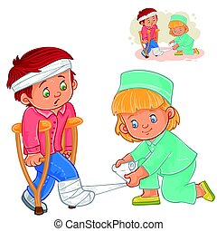 Vector little girl a nurse banding a leg to a little boy on ...