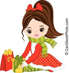 Vector Little Girl with Christmas Gifts