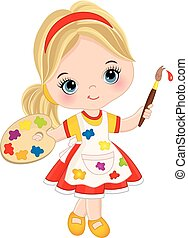 Vector Little Girl with Palette and Paint Brush. Vector...