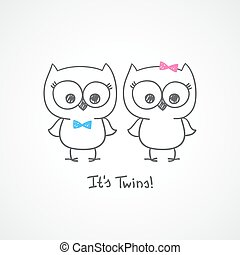 owls twins - vector little owls twins, baby shower...