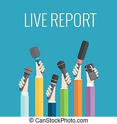 live report concept - vector live report concept, live news...