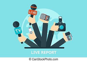 live report concept - vector live report concept, live news,...