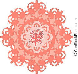 Vector Living Coral Mandala. Color of the Year 2019...