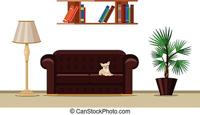 Vector living room flat illustration
