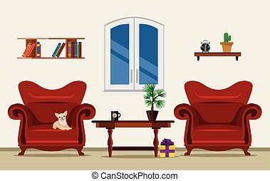 Vector living room flat illustration vector clipart - Search ...
