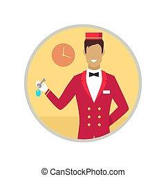 vector, llave, hotel, recepcionista, ilustración