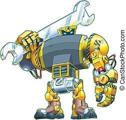 vector, llave inglesa, caricatura, tenencia, robot