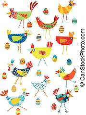 Vector llustration of colorful chickens on a white background