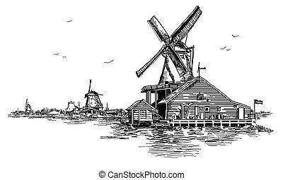 Graphic Vector hand drawing engraving Illustration of watermill in Amsterdam (Netherlands, Holland) in black color. Vector isolated on a white background.