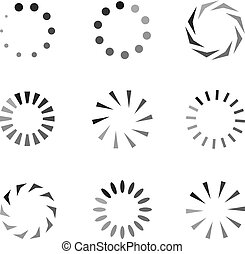 Vector Load Icons Set, Monochrome Circels, Loading Process.