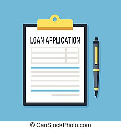 Vector loan application form. Clipboard and pen