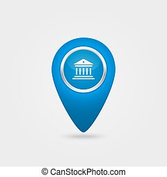 Vector location blue icon with bank sign