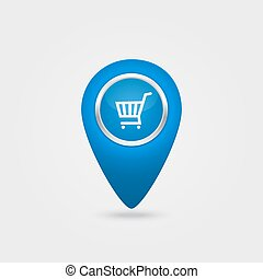 Vector location blue icon with cart sign