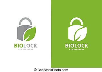 Vector lock and leaf logo combination. Safe and eco symbol...