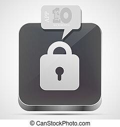 Vector lock app icon with gray bubble speech. Eps10